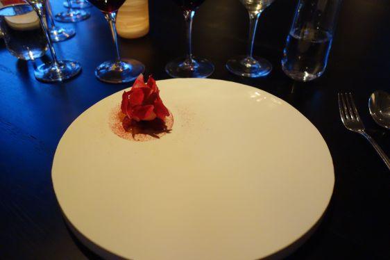 Wild raspberries sorbet with rugosa roses - Daniel Berlin