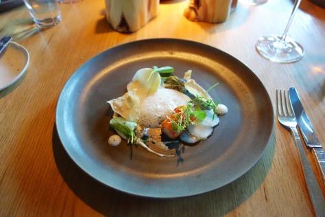 Spruce fried spider crab, oatmeal & spruce porridge & kohlrabi